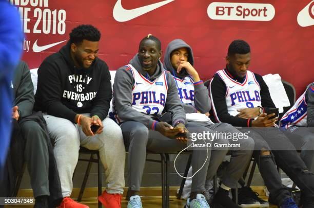 Mamdou Sakho Timothy FosuMensah Ruben LoftusCheek and Jeffrey Schlupp of Crystal Palace football team look on during practice as part of the 2018 NBA...