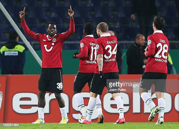 Mame Biram Diouf of Hannover celebrates after scoring his team's first goal during the second round DFB Cup match between Hannover 96 and Dynamo...