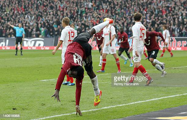 Mame Biram Diouf of Hannover celebrates his teams second goal during the Bundesliga match between Hannover 96 and FC Augsburg at AWD Arena on March...