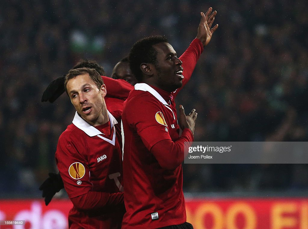 Mame Biram Diouf (R) of Hannover celebrates with his team mates after scoring his team's second goal during the UEFA Europa League Group L match between Hannover 96 and Helsingborgs IF at AWD Arena on November 8, 2012 in Hannover, Germany.