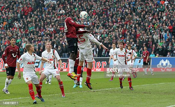 Mame Biram Diouf of Hannover scores his teams second goal during the Bundesliga match between Hannover 96 and FC Augsburg at AWD Arena on March 03...