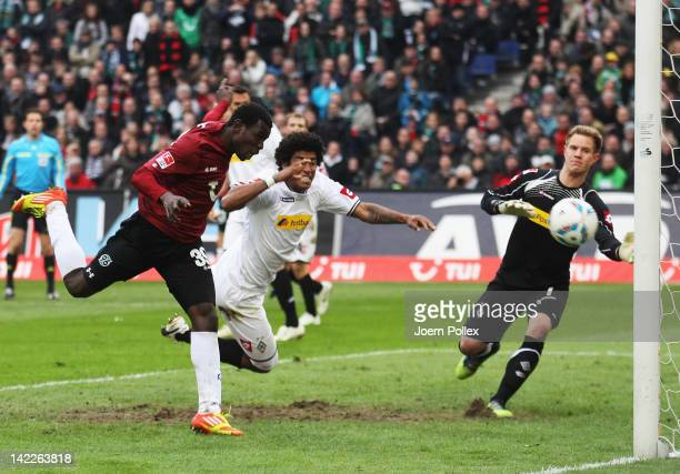 Mame Biram Diouf of Hannover scores his team's second goal during the Bundesliga match between Hanover 96 and Borussia Moenchengladbach at AWD Arena...