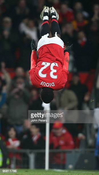 Mame Biram Diouf of Manchester United celebrates scores their third goal during the FA Barclays Premier League match between Manchester United and...
