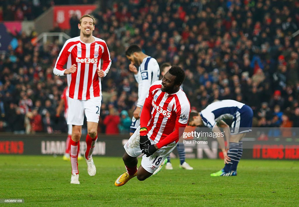 Mame Biram Diouf of Stoke City celebrates as he scores their first goal during the Barclays Premier League match between Stoke City and West Bromwich Albion at Britannia Stadium on December 28, 2014 in Stoke on Trent, England.