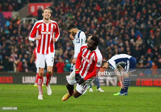 Mame Biram Diouf of Stoke City celebrates as he scores their first goal during the Barclays Premier League match between Stoke City and West Bromwich...