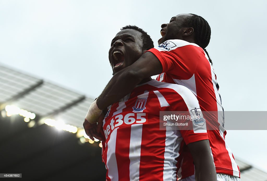 Mame Biram Diouf of Stoke City celebrates scoring his goal during the Barclays Premier League match between Manchester City and Stoke City at Etihad Stadium on August 30, 2014 in Manchester, England.