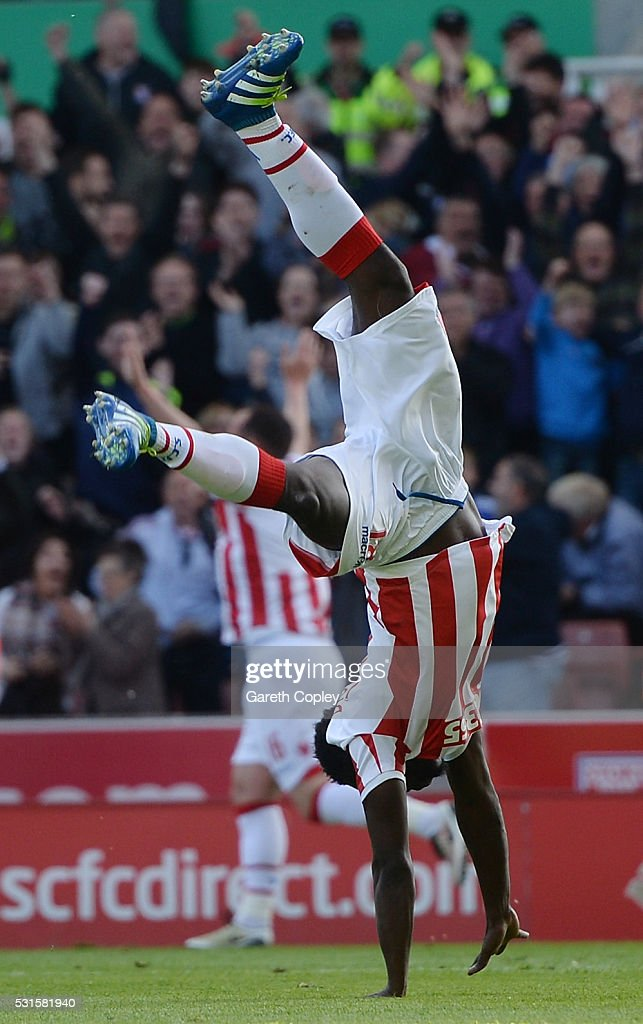 Mame Biram Diouf of Stoke City celebrates scoring his team's second goal during the Barclays Premier League match between Stoke City and West Ham United at the Britannia Stadium on May 15, 2016 in Stoke on Trent, England.