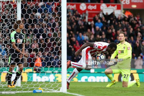 Mame Biram Diouf of Stoke City celebrates scoring the first Stoke goal during the Premier League match between Stoke City and AFC Bournemouth at...