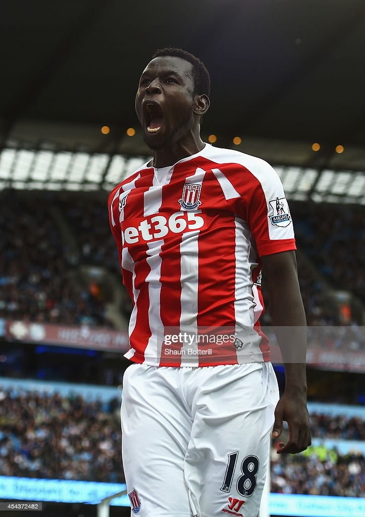 Mame Biram Diouf of Stoke City celebrates scoring the opening goal during the Barclays Premier League match between Manchester City and Stoke City at Etihad Stadium on August 30, 2014 in Manchester, England.