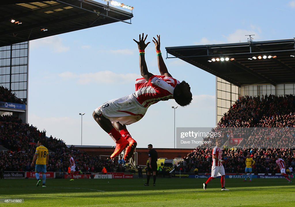 Mame Biram Diouf of Stoke City celebrates scoring the opening goal during the Barclays Premier League match between Stoke City and Crystal Palace at Britannia Stadium on March 21, 2015 in Stoke on Trent, England.