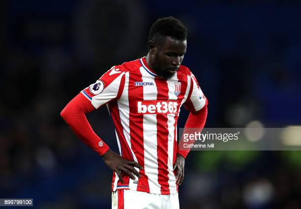 Mame Biram Diouf of Stoke City looks dejected during the Premier League match between Chelsea and Stoke City at Stamford Bridge on December 30 2017...