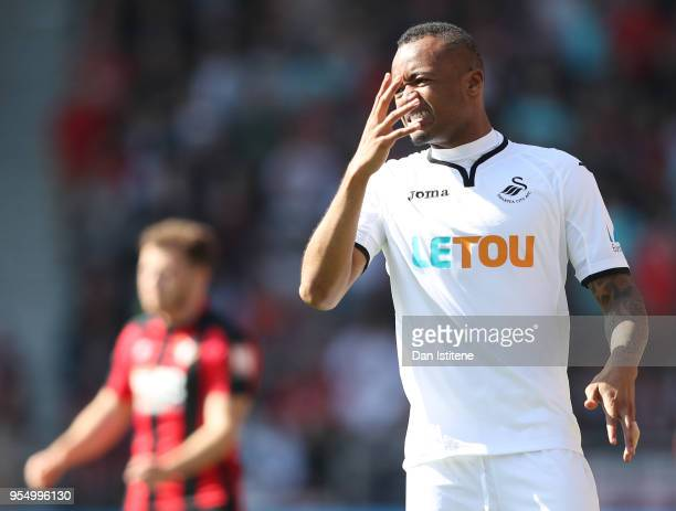 Mame Biram Diouf of Stoke City reacts during the Premier League match between AFC Bournemouth and Swansea City at Vitality Stadium on May 5 2018 in...