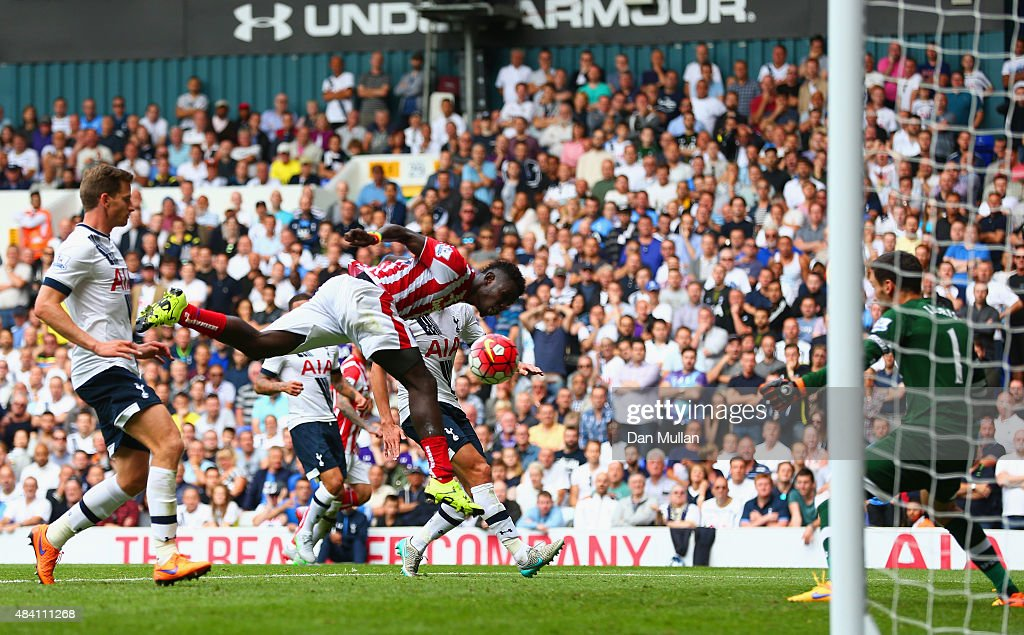Mame Biram Diouf of Stoke City scores his team's second goal during the Barclays Premier League match between Tottenham Hotspur and Stoke City at White Hart Lane on August 15, 2015 in London, United Kingdom.