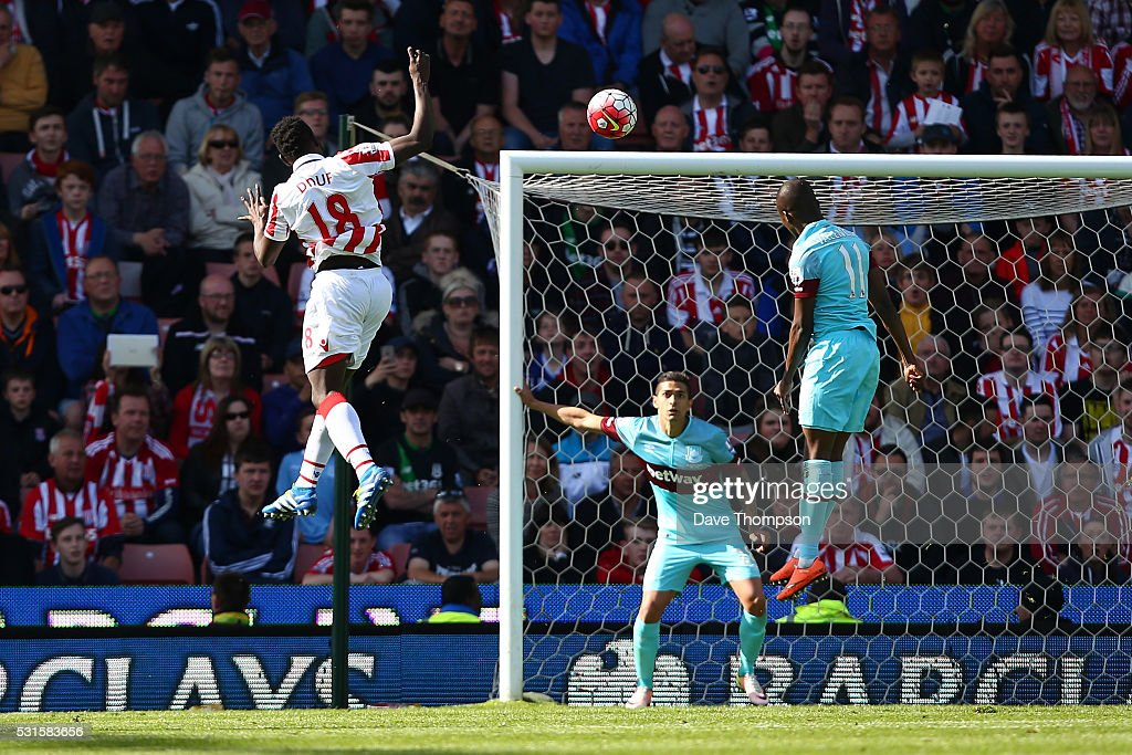 Mame Biram Diouf of Stoke City scores his team's second goal during the Barclays Premier League match between Stoke City and West Ham United at the Britannia Stadium on May 15, 2016 in Stoke on Trent, England.
