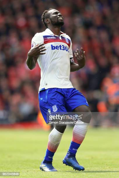 Mame Biram Diouf of Stoke looks dejected during the Premier League match between Liverpool and Stoke City at Anfield on April 28 2018 in Liverpool...