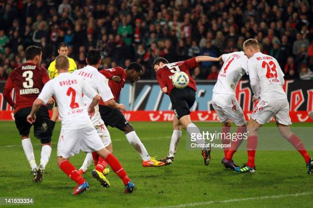 Mame Diouf hafl scores the forth goal during the Bundesliga match between Hanover 96 and 1 FC Koeln at AWD Arena on March 18 2012 in Hannover Germany