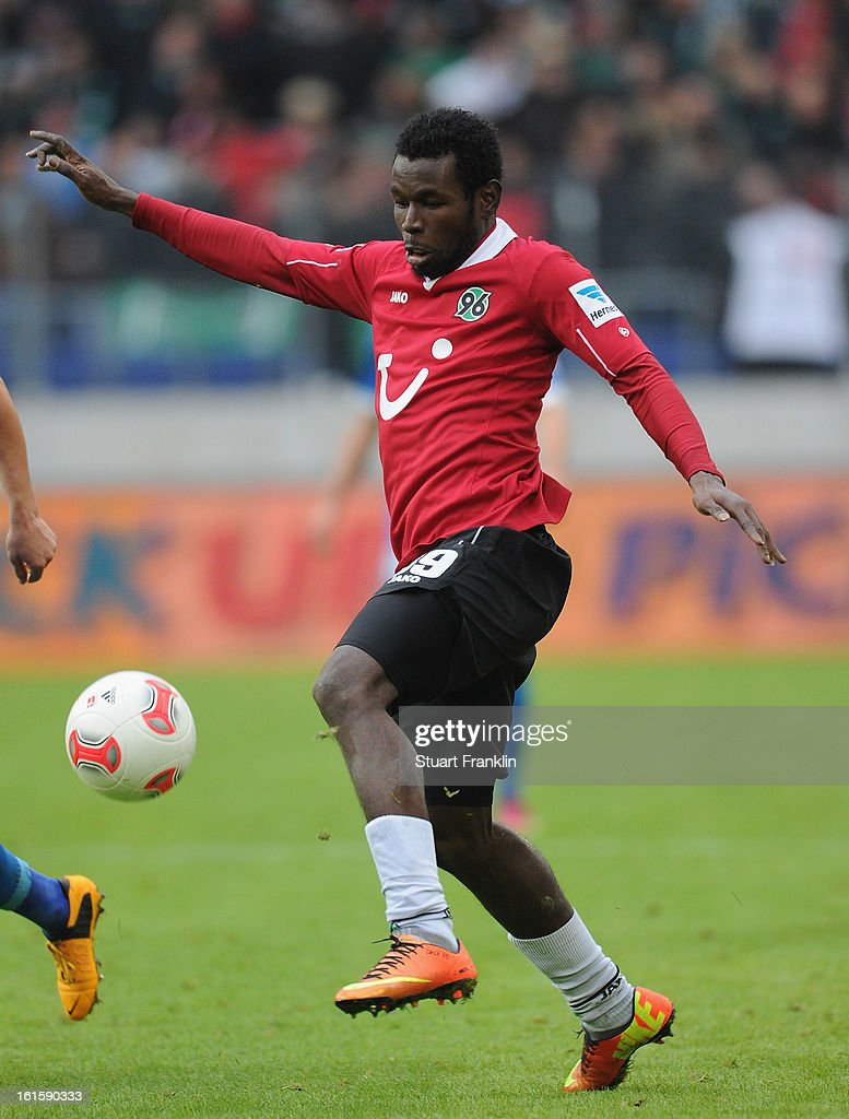 Mame Diouf of Hannover in action during the Bundesliga match between Hannover 96 and TSG 1899 Hoffenheim at AWD Arena on February 9, 2013 in Hannover, Germany.