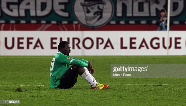 Mame Diouf of Hannover looks dejected after the UEFA Europa League quarter-final second leg match between Hannover 96 and Atletico de Madrid at AWD...