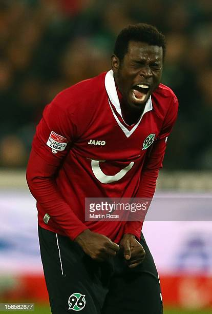 Mame Diouf of Hannover reacts during the Bundesliga match between Hannover 96 and SC Freiburg at AWD Arena on November 17, 2012 in Hannover, Germany.