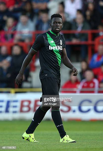 Mame Diouf of Stoke City during the pre season friendly match between Wrexham and Stoke City at Racecourse Ground on July 22 2015 in Wrexham Wales