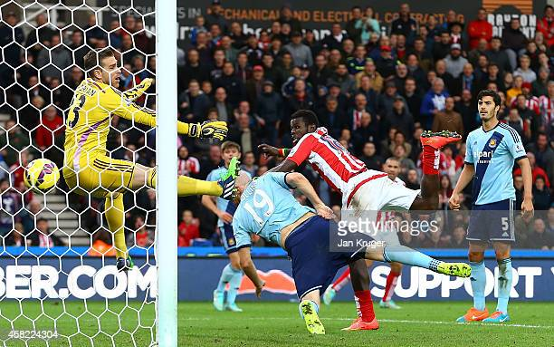 Mame Diouf of Stoke City scores his team's second goal during the Barclays Premier League match between Stoke City and West Ham United at the...