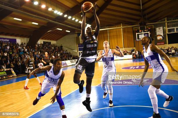 Mame Marie Sy Diop of Villeneuve d Asq and Renee Taylor and Gaelle Skrela of Montpellier during the women's french League final match between...
