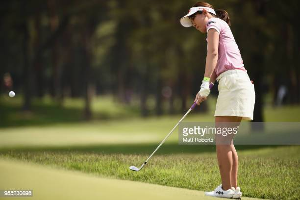 Mami Fukuda of Japan chips onto the 2nd green during the final round of the World Ladies Championship Salonpas Cup at Ibaraki Golf Course West Course...