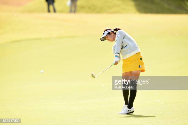 Mami Fukuda of Japan hits a shot during the final round of the Itoen Ladies Golf Tournament 2017 at the Great Island Club on November 12 2017 in...