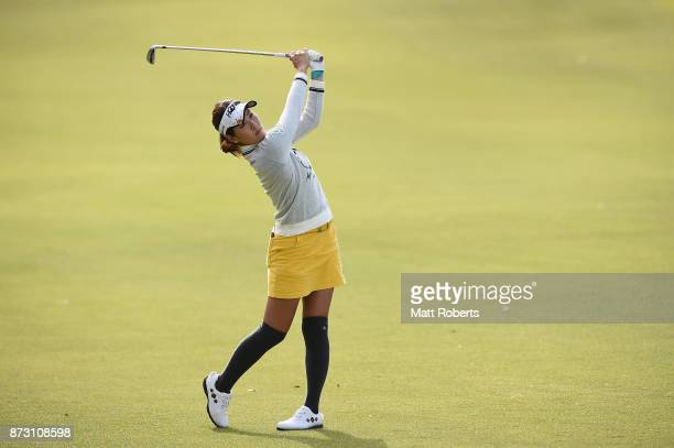 Mami Fukuda of Japan hits her second shot on the 9th hole during the final round of the Itoen Ladies Golf Tournament 2017 at the Great Island Club on...