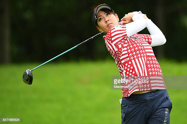 Mami Fukuda of Japan hits her tee shot on the 11th hole during the first round of the Samantha Thavasa Girls Collection Ladies Tournament 2016 at the...
