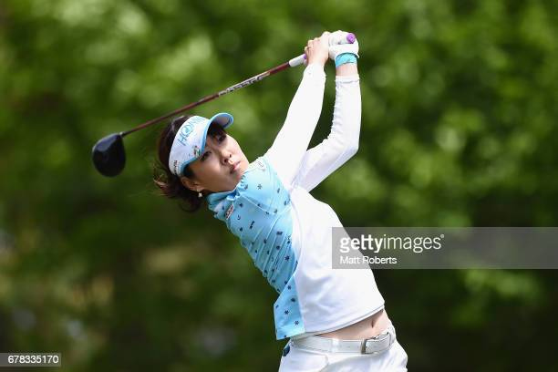 Mami Fukuda of Japan hits her tee shot on the 2nd hole during the first round of the World Ladies Championship Salonpas Cup at the Ibaraki Golf Club...