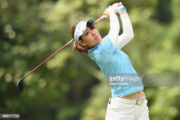 Mami Fukuda of Japan hits her tee shot on the 2nd hole during the first round of the Nichirei Ladies at the Sodegaura Country Club Shinsode Course on...