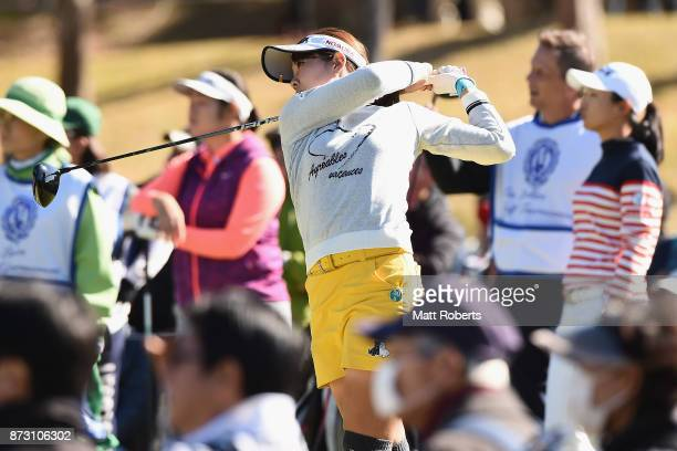 Mami Fukuda of Japan hits her tee shot on the 3rd hole during the final round of the Itoen Ladies Golf Tournament 2017 at the Great Island Club on...