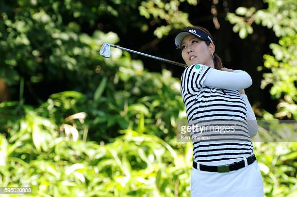 Mami Fukuda of Japan hits her tee shot on the 4th hole during the first round of the Nitori Ladies 2016 at the Otaru Country Club on August 25 2016...