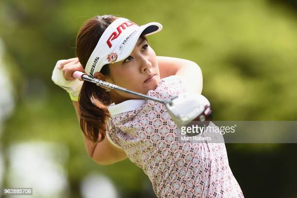 Mami Fukuda of Japan hits her tee shot on the 4th hole during the final round of the Resorttust Ladies at Kansai Golf Club on May 27 2018 in Miki...