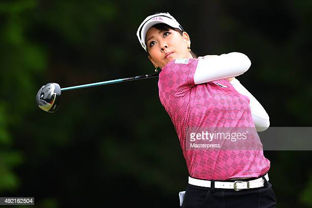 Mami Fukuda of Japan hits her tee shot on the 8th hole during the second round of Stanley Ladies Golf Tournament at the Tomei Country Club on October...