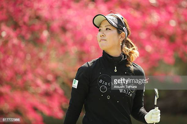 Mami Fukuda of Japan looks on during the final round of the AXA Ladies Golf Tournament at the UMK Country Club on March 27 2016 in Miyazaki Japan