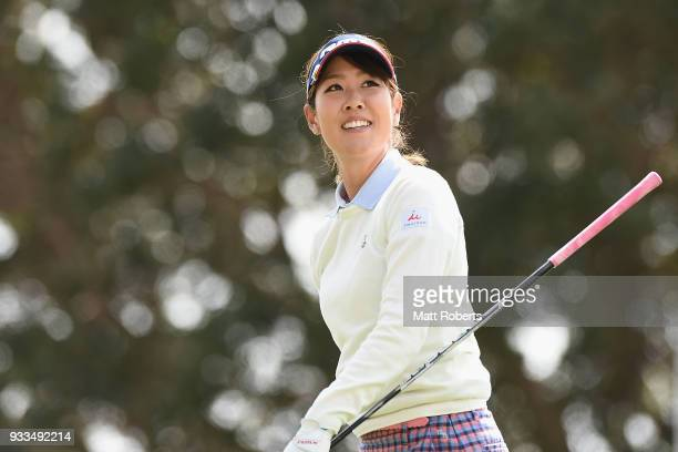 Mami Fukuda of Japan looks on during the final round of the TPoint Ladies Golf Tournament at the Ibaraki Kokusai Golf Club on March 18 2018 in...