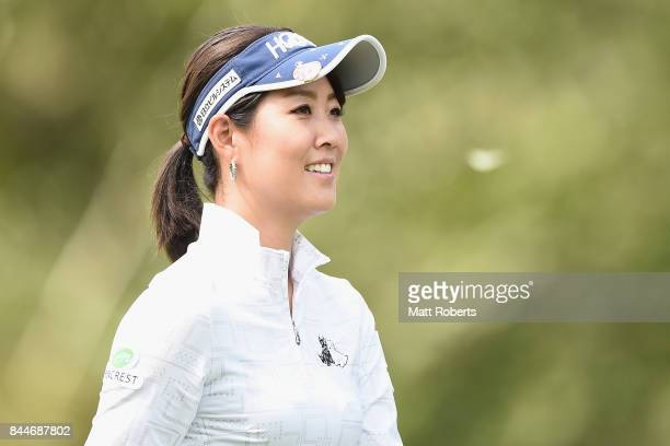 Mami Fukuda of Japan looks on during the third round of the 50th LPGA Championship Konica Minolta Cup 2017 at the Appi Kogen Golf Club on September 9...