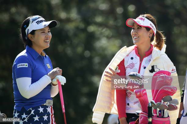Mami Fukuda of Japan on the fifth hole in the first round during the T-Point Ladies Golf Tournament at the Wakagi Golf Club on March 17, 2017 in...