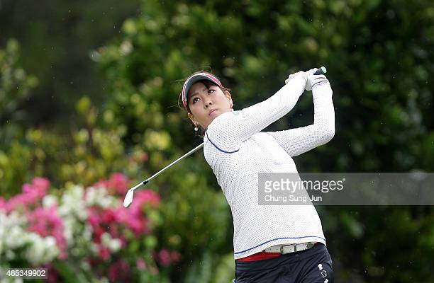 Mami Fukuda of Japan plays a tee shot during the first round of the Daikin Orchid Ladies Golf Tournament at the Ryukyu Golf Club on March 6 2015 in...