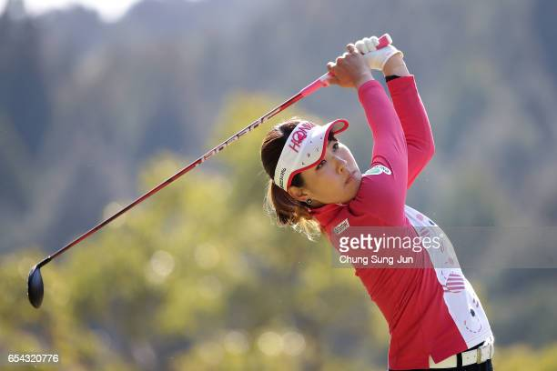 Mami Fukuda of Japan plays a tee shot on the fifth hole in the first round during the T-Point Ladies Golf Tournament at the Wakagi Golf Club on March...