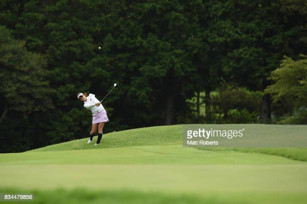 Mami Fukuda of Japan plays her approach shot on the 1st hole during the first round of the CAT Ladies Golf Tournament HAKONE JAPAN 2017 at the...