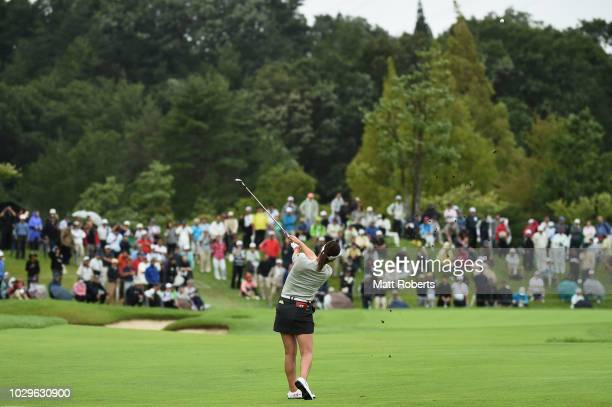 Mami Fukuda of Japan plays her approach shot on the 5th hole during the final round of the 2018 LPGA Championship Konica Minolta Cup at Kosugi...