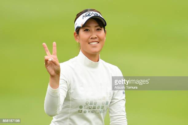 Mami Fukuda of Japan poses during the first round of Stanley Ladies Golf Tournament at the Tomei Country Club on October 6, 2017 in Susono, Shizuoka,...
