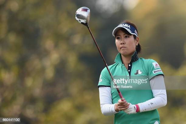 Mami Fukuda of Japan prepares for her tee shot on the first hole during the first round of the YAMAHA Ladies Open Katsuragi at the Katsuragi Golf...