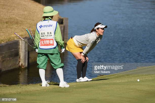 Mami Fukuda of Japan prepares to putt on the 7th green during the final round of the Itoen Ladies Golf Tournament 2017 at the Great Island Club on...