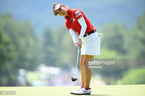 Mami Fukuda of Japan putts during the second round of the Suntory Ladies Open at the Rokko Kokusai Golf Club on June 10 2016 in Kobe Japan