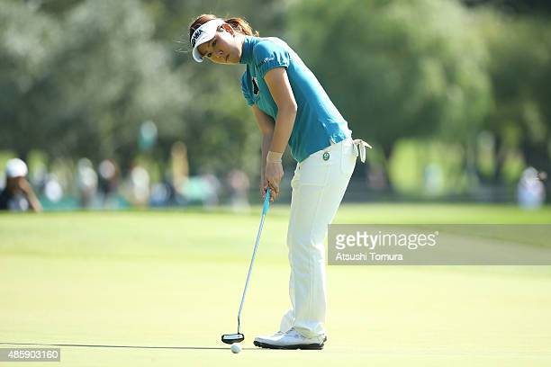 Mami Fukuda of Japan putts on the 2nd hole during the final round of the Nitori Ladies 2015 at the Otaru Country Club on August 30 2015 in Otaru Japan