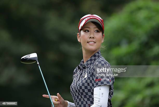 Mami Fukuda of Japan reacts after a tee shot on the third hole during the third round of the 48th LPGA Championship Konica Minolta Cup 2015 at the...